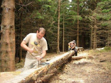 Gisburn Forest Trail Builders - log chiselling